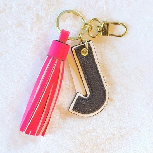 tassel j initial bag charm keychain NWT